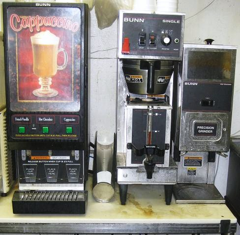commercial coffee maker, grinder and cappuccino maker